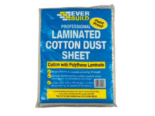 Everbuild LAMDUST Laminated Cotton Twill Dust Sheet 3.6m x 2.7m (12ft x 9ft)